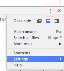 Open Settings Chrome Developer Tools
