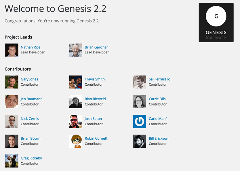 Genesis  2.2 Contributors