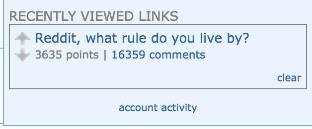 Reddit Recently Viewed Links