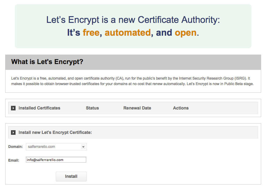 Siteground Lets Encrypt Install Certificate Screen