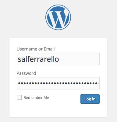 Example WordPress Login Box