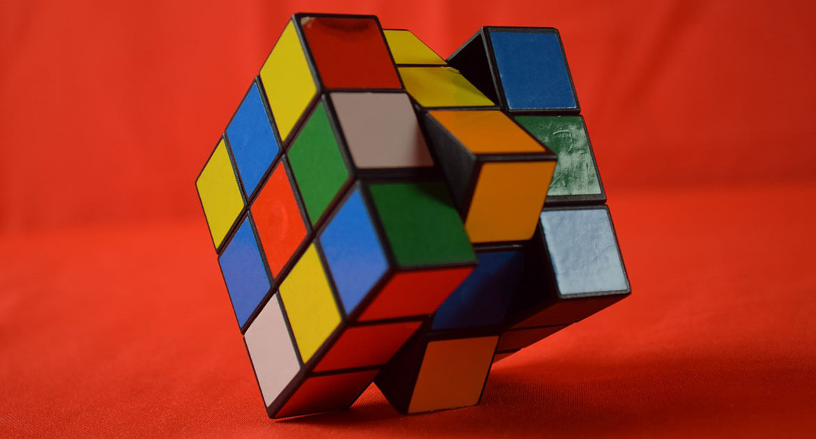 An unsolved Rubik's Cube