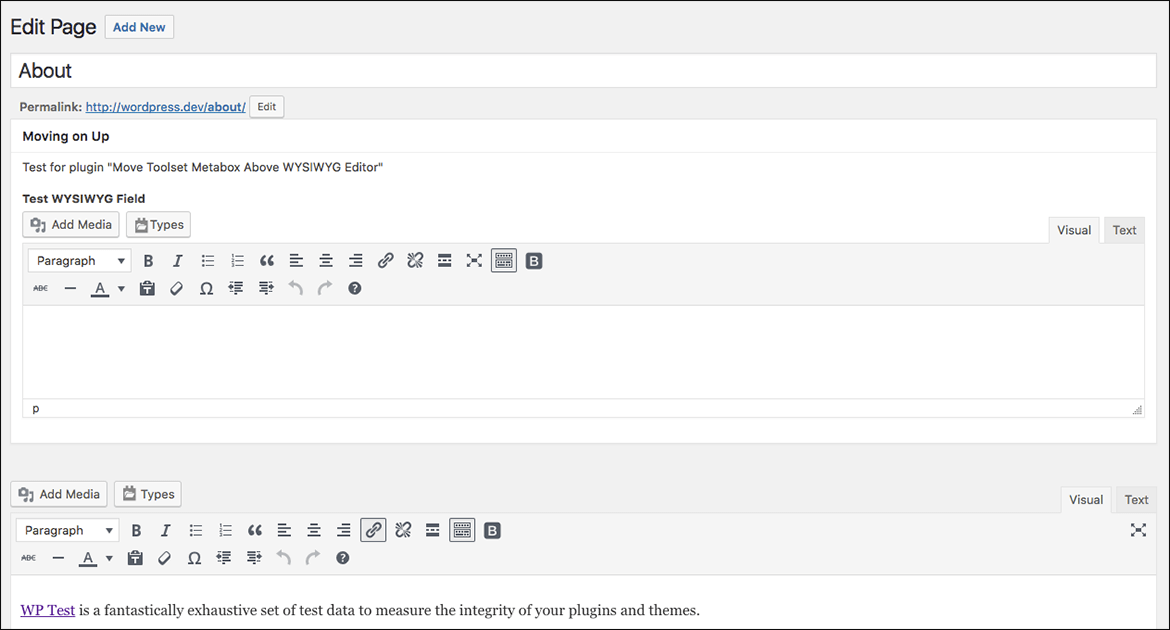 Screenshot of Toolset Metabox Above WYSIWYG Editor