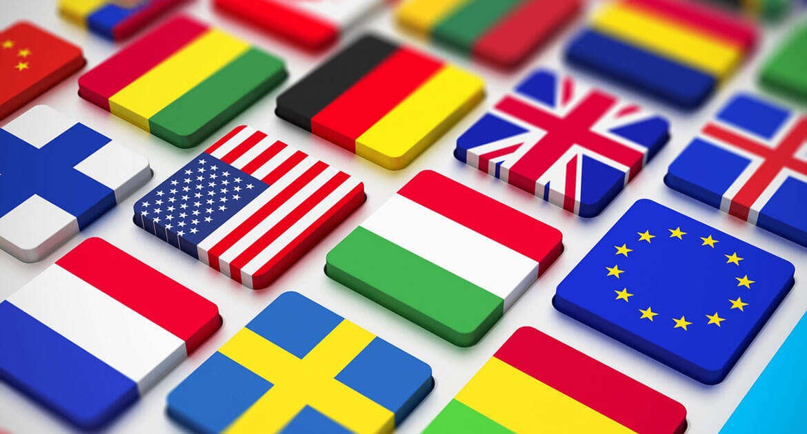 Squares with different countries' flags painted on them