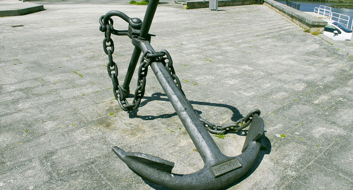 A photo of a ship's anchor