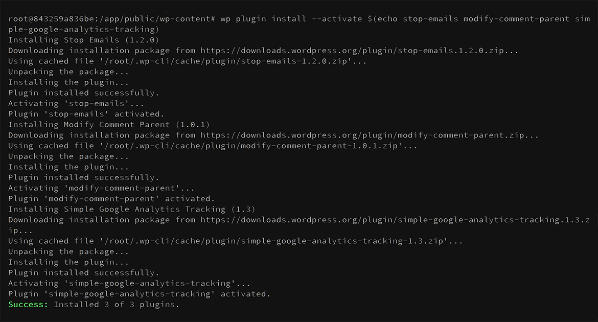 Command line output from running command to install multiple plugins.
