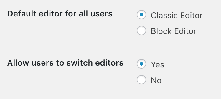 Screenshot of the Classic Editor Settings with default values