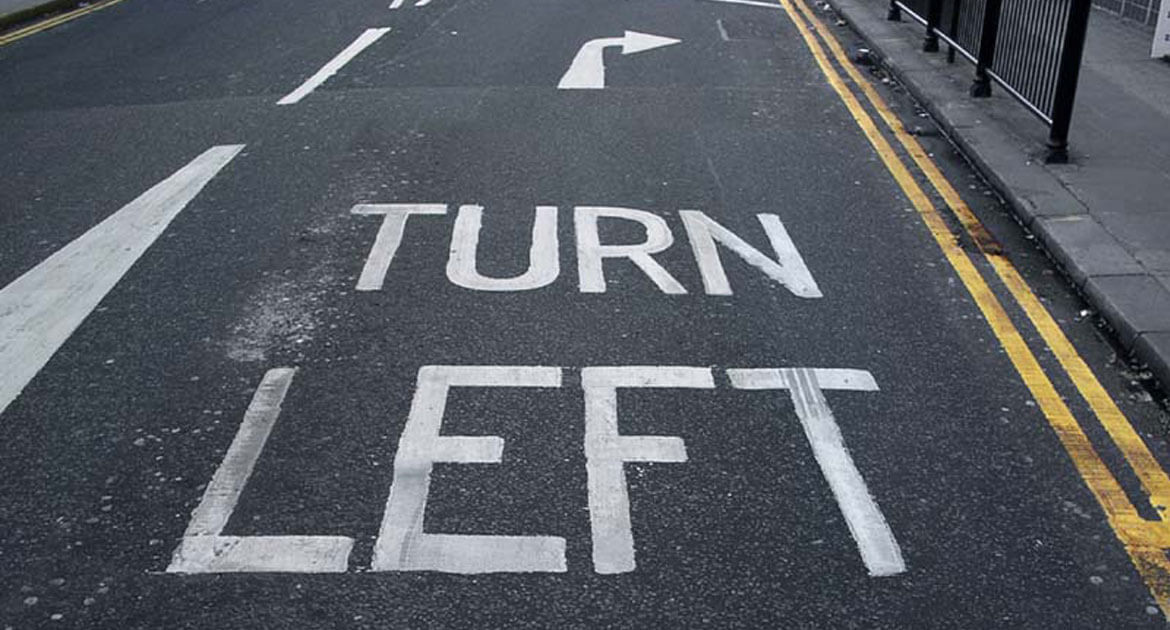 "Picture of Right Turn Lane Labeled ""Turn Left""."