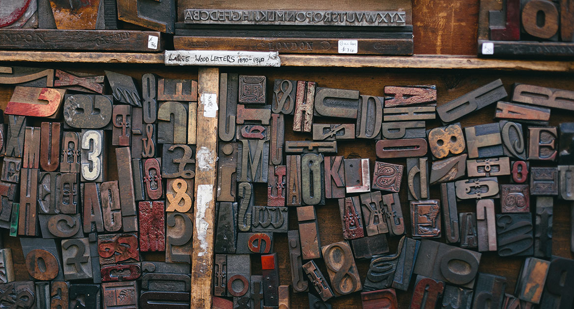 Assortment of letters from a printing press.
