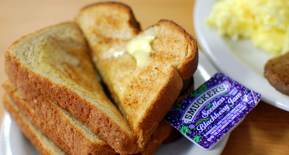 Breakfast Food: Toast with Jelly and Eggs