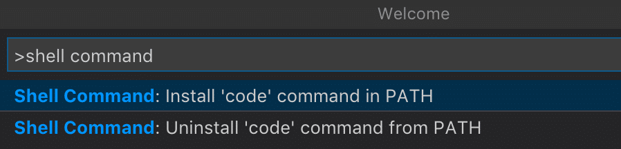 "Screenshot of selecting ""Shell Command: Install 'code' command in PATH"" in Visual Studio Code."