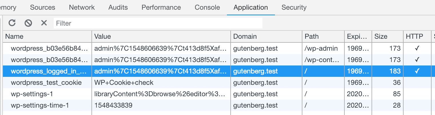 Screenshot of Chrome Developer Tools Displaying Cookies.