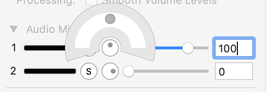 Screenshot of Screenflow Audio Setting Balance Middle.