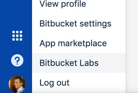 Screenshot of the Menu with the Bitbucket Labs menu item.