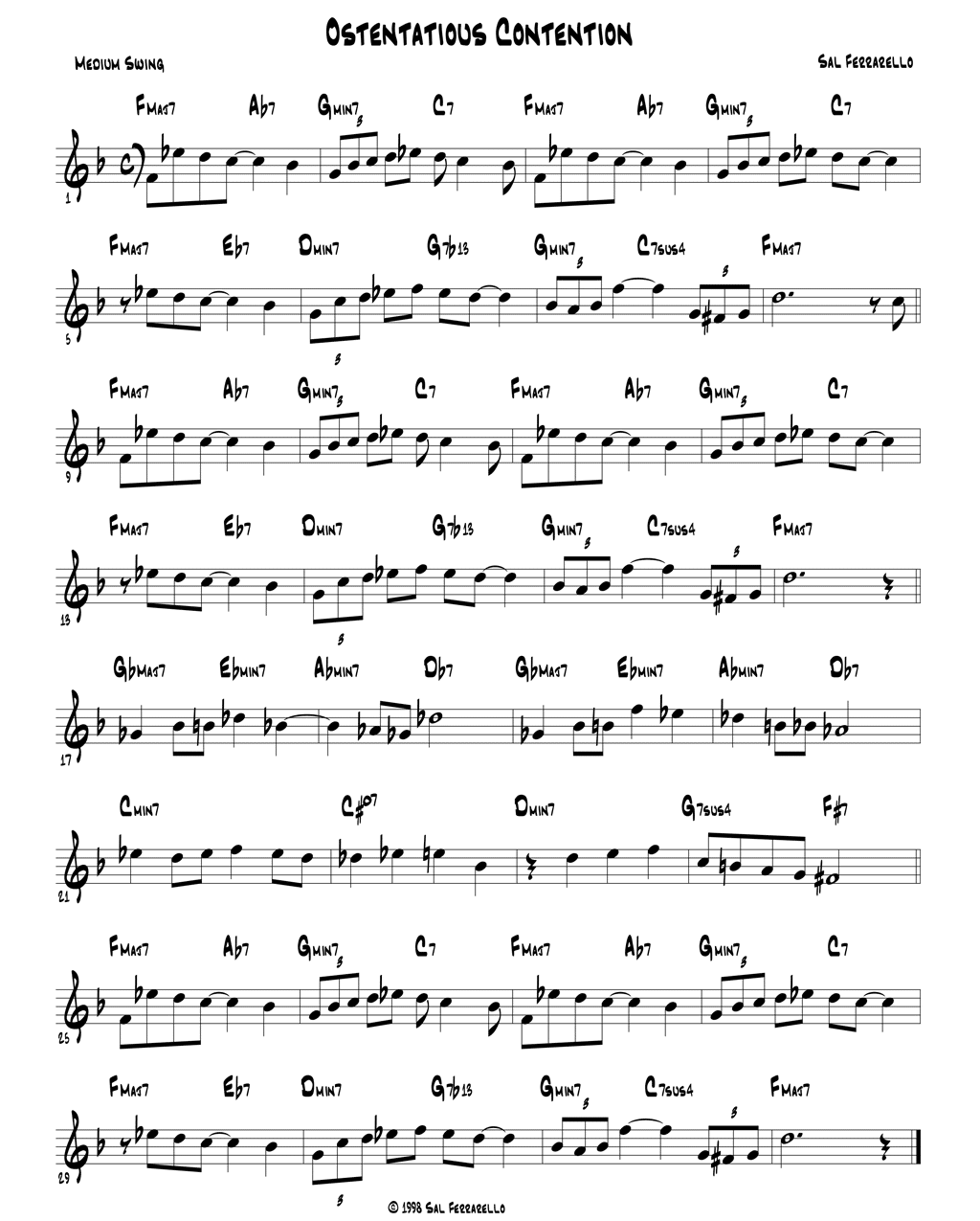 Ostentatious Contention music lead sheet.