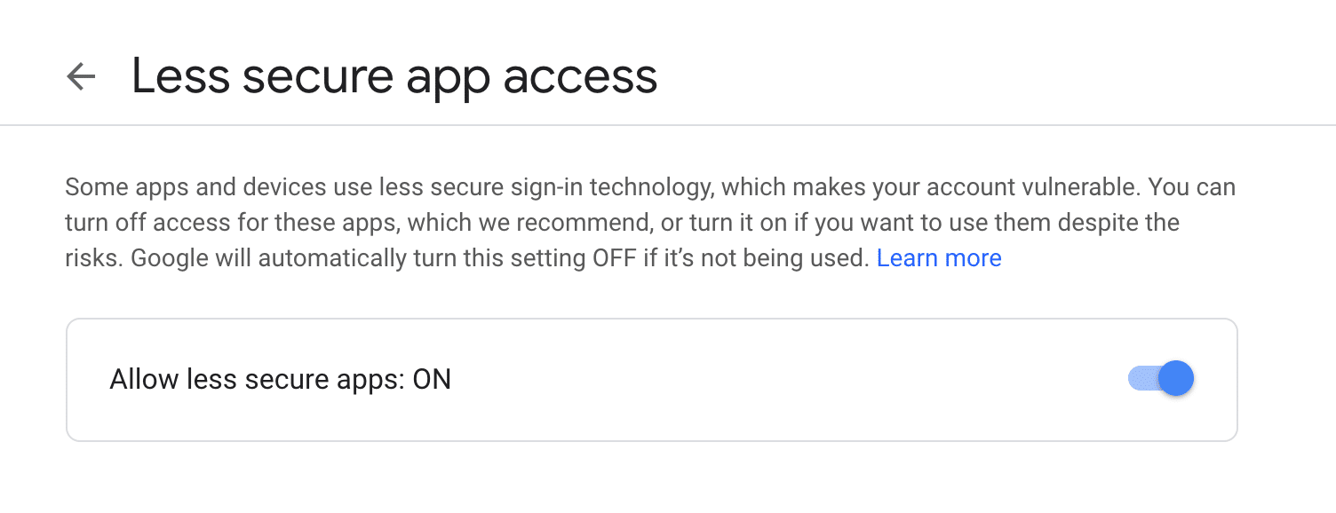 Gmail Allow Less Secure App Access On.