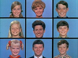 Three by three grid of the Brady Bunch cast members.