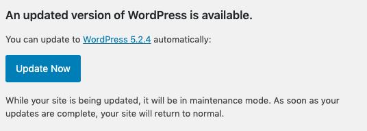 WordPress Update Now Button.