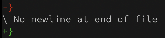 Git diff with message 'No newline at end of file'.