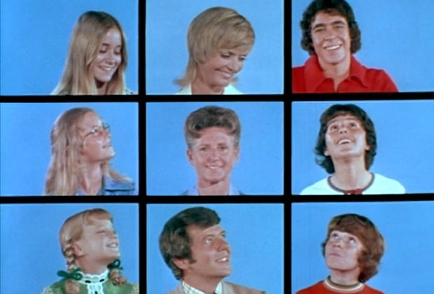 Brady Bunch opening screen with all nine characters.